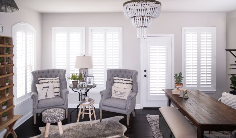 Plantation shutters in a Kingsport living room
